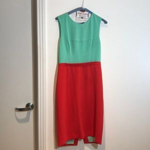 BCBG Maxazria dress teal and coral dress, size 8